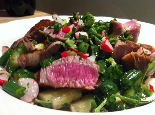 Raw salad with Spring Lamb