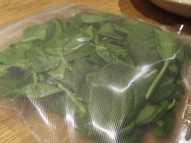 Wilt Spinach in the Sous Vide