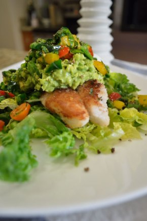 Paleo Rock Cod, Salsa and Guacamole