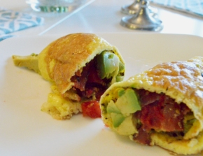 Paleo Egg Wrap with Bacon and Avocado