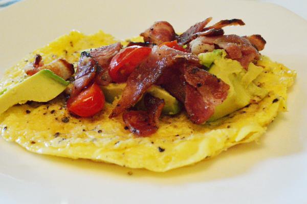 Egg wrap with bacon